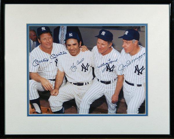 689: Mantle Berra Ford DiMaggio Signed  Photo LOA