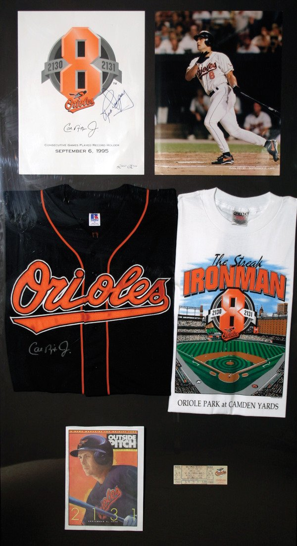 708: Cal Ripken Autographed Bat Display Litho LOA
