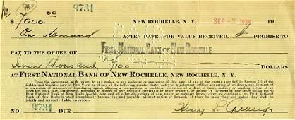 906: 1938 Lou Gehrig Bank Note Signed Photo LOA