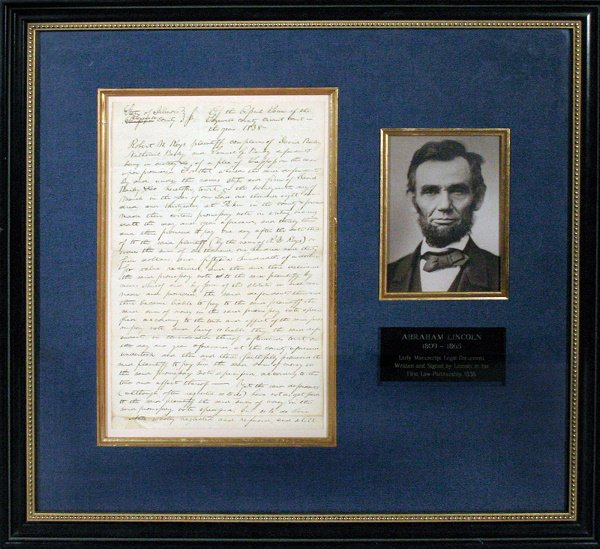 978: Original Abraham Lincoln Manuscript 1838