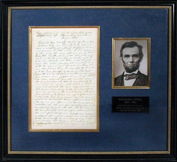 978: Original Abraham Lincoln Manuscript 1838