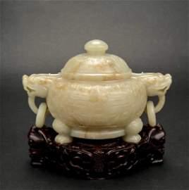 A Chinese nephrite celadon jade censer