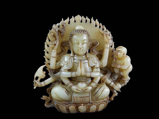 Jade Hindu Goddes of Durga figure