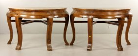 Pr. Chinese Carved Demilune Tables