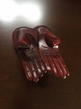 A Wood Carved Buddha Hand