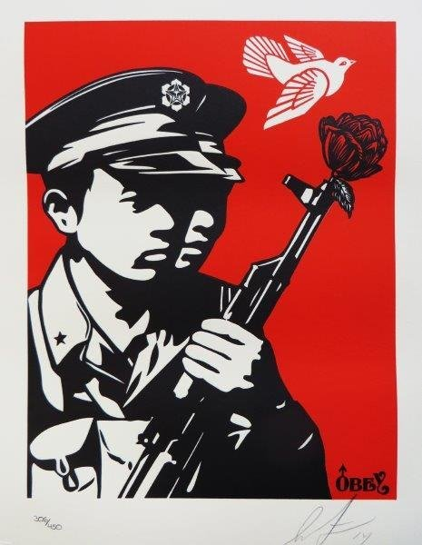SHEPARD FAIREY- OBEY GIANT Chinese Soldier Letter