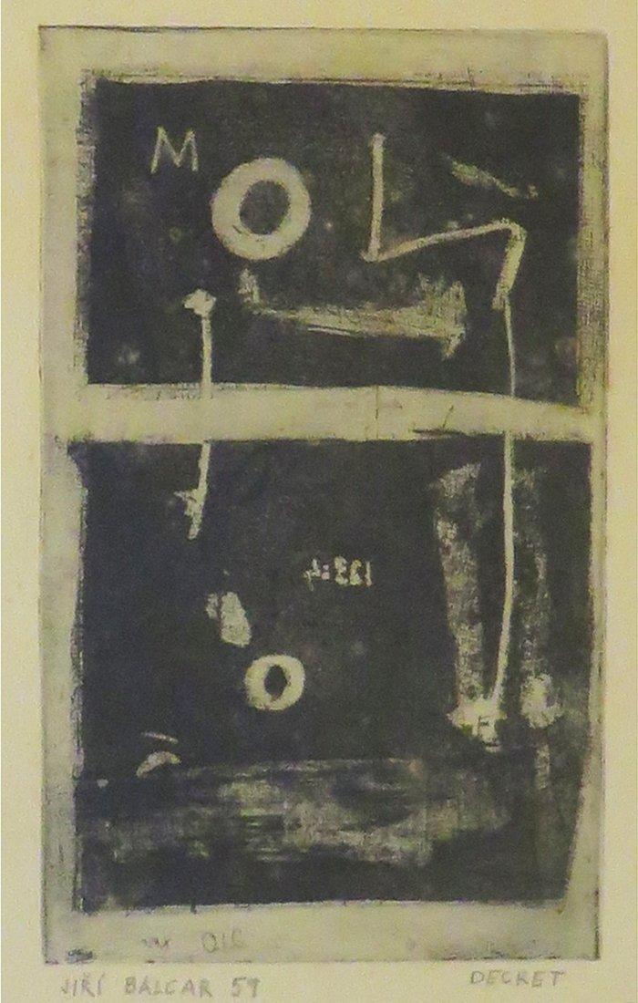 BALCAR Jiri ( 1929-1968) DECRET, 1959 Aqua teinte  sur