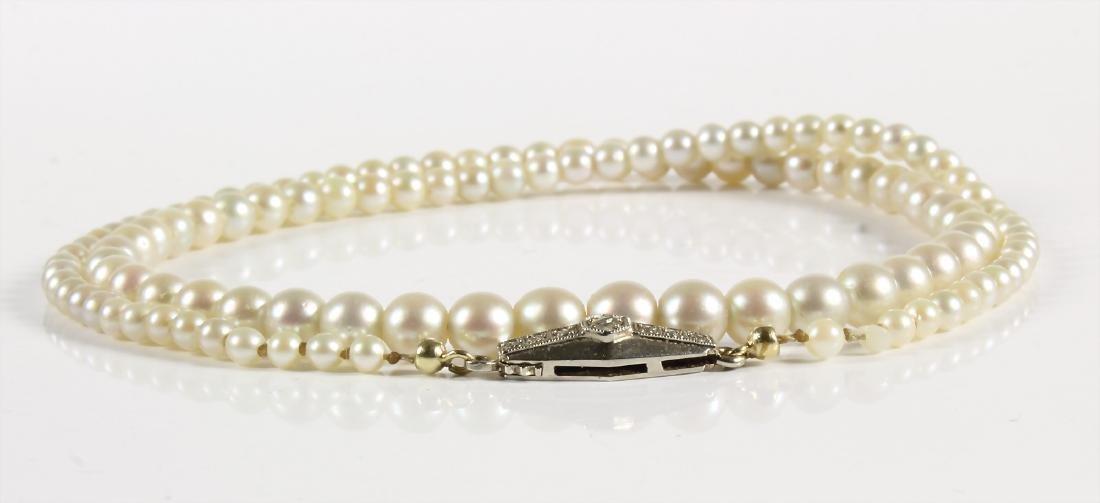 """Perlenkette """"ART-DECO"""" der 1930/40er Jahre, GG/WG"""