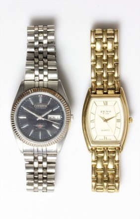 Lot: 2 Herrenarband-uhren, 1 Citizen, Automatik,