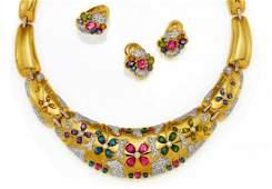 Gemstone-Set: Necklace, Ring, Ear Stud Clips