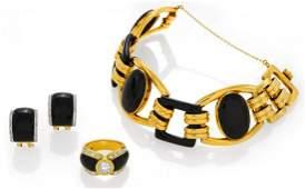 Onyx-Diamond-Set: Bracelet, Ring and Ear Studs