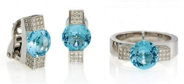 Topaz-Set: Ear Stud Clips and Ring