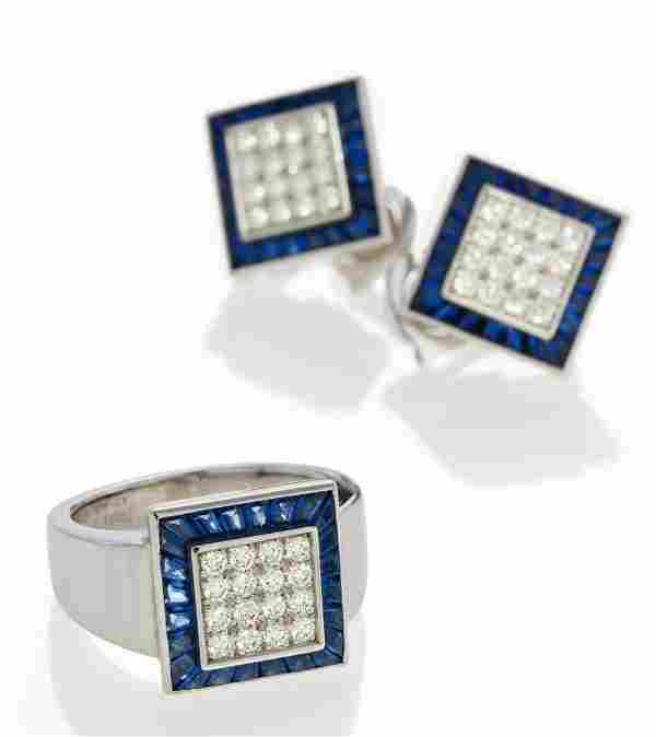 Diamond-Sapphire-Set: Ring and Ear Clip-Ons