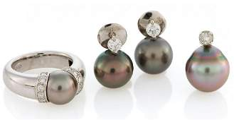 Pearl-Set\; Ring, Pendant and Ear Studs