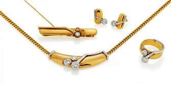 Diamond-Set: Tie Clip, Ring, Ear Studs, Necklace