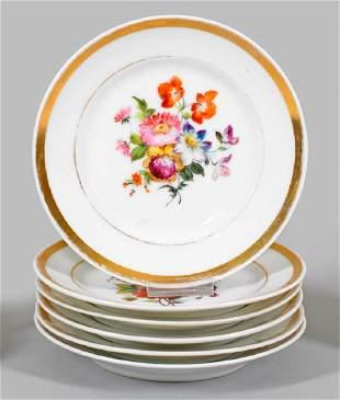 Sechs BiedermeierTeller mit Blumendekor