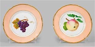 Paar BiedermeierZierteller mit Frchtedekor