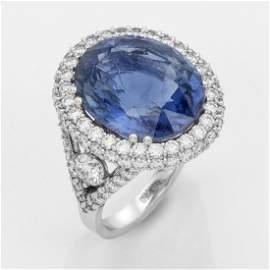 Spektakulärer Juwelenring mit einem royalblauen
