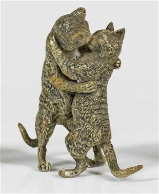Figurengruppe mit Katzen als Liebespaar