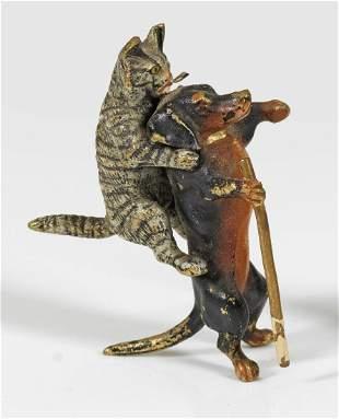 MiniaturFigurengruppe mit Dackel und Katze