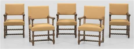 Satz von fünf Armlehnstühlen im Barock-Stil