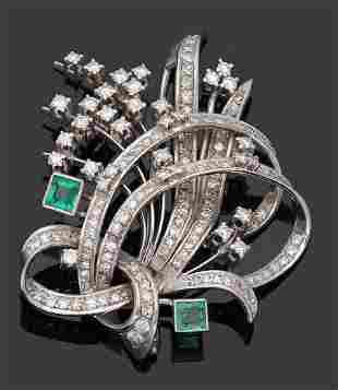Elegante Smaragdbrosche aus den 60er Jahren
