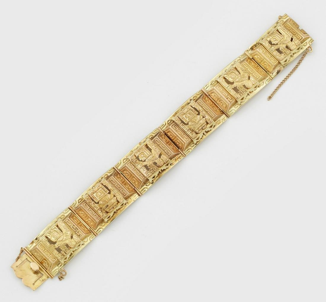 Gliederarmband mit Aztekischem Dekor