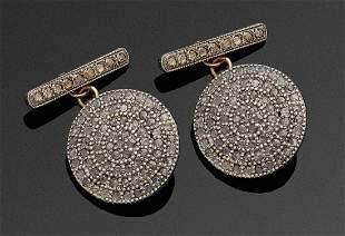 Paar russische Manschettenkn246pfe mit Diamanten