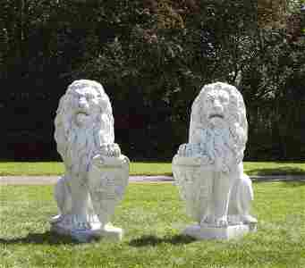 """Paar monumentale Portallöwen aus der Villa """"Haus"""