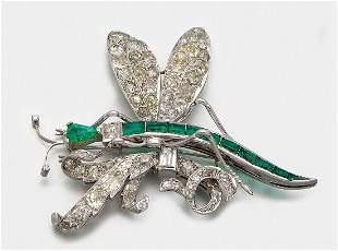 Glamouröse Smaragd-Diamantbrosche der 50er Jahre