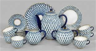 """Kaffeeservice mit Dekor """"Kobalt-Netz"""""""