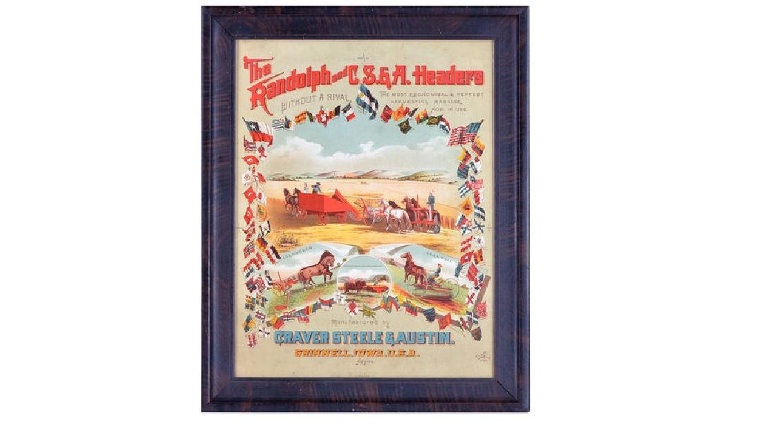 Randolph Harvester Early Paper Sign 19x24
