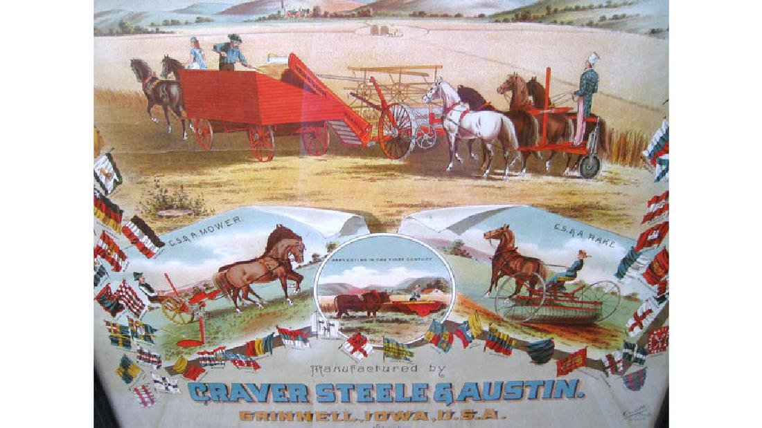 Randolph Harvester Early Paper Sign 19x24 - 2
