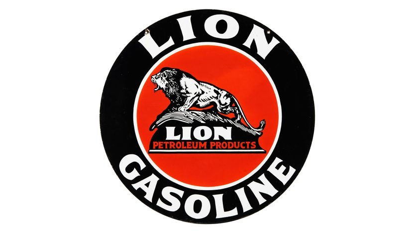 Lion Gasoline Sign  DSP 42 Inches Double-Sided