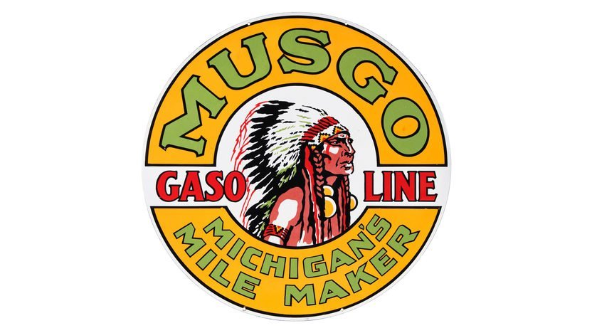 Musgo Gasoline Sign DSP 47.75 Inches Double-Sided