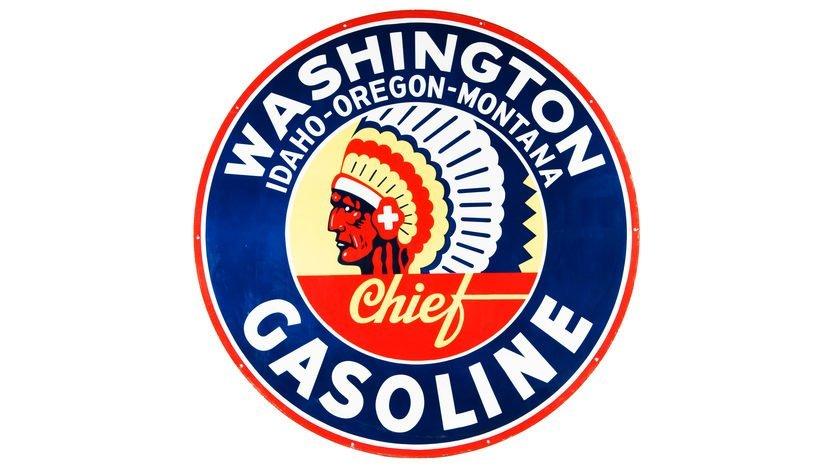Washington Iom Chief Gasoline Sign DSP 72 Inches