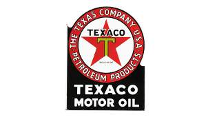 Texaco Motor Oil Flange Sign DSPF 18x23 Double-Sided