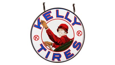 Kelly Lotta Miles Tires Sign DSP 42 Inches Double-Sided