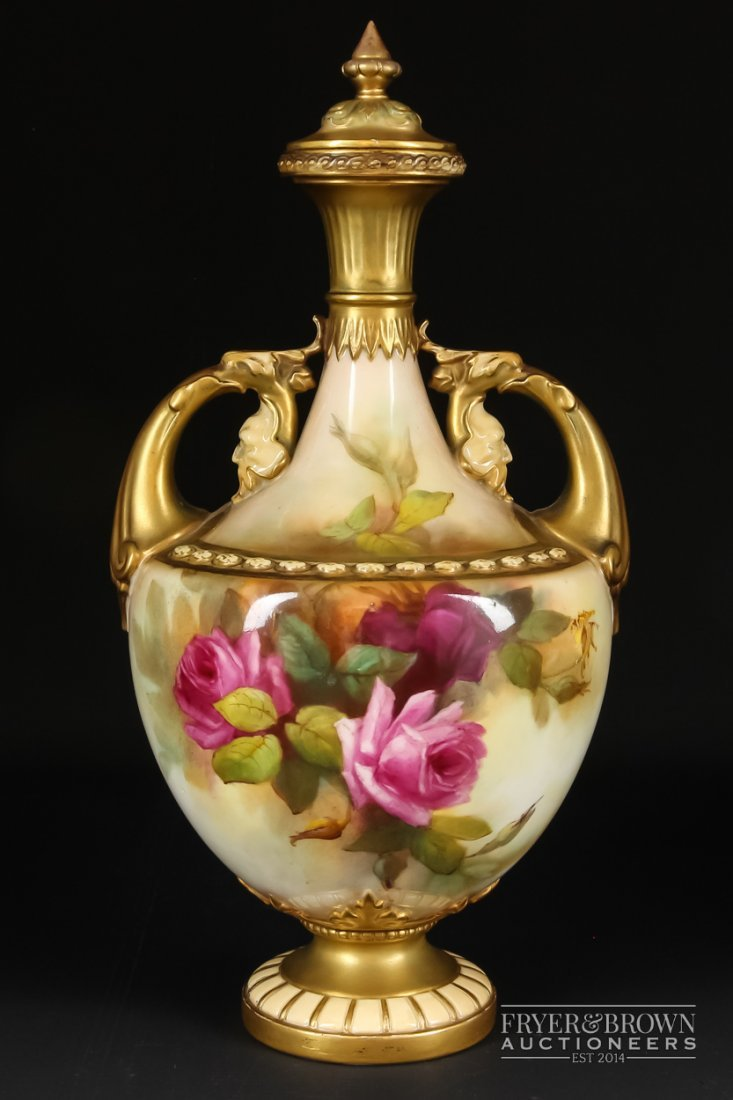 A Royal Worcester two-handled vase & cover, painted