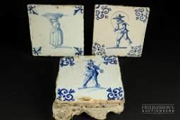 Three 17th/18th century Delft blue & white pottery