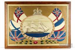 A large sailor's woolwork picture, 19th century, the