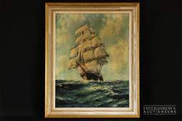 John Millington - ship at sea in full sail, oil on
