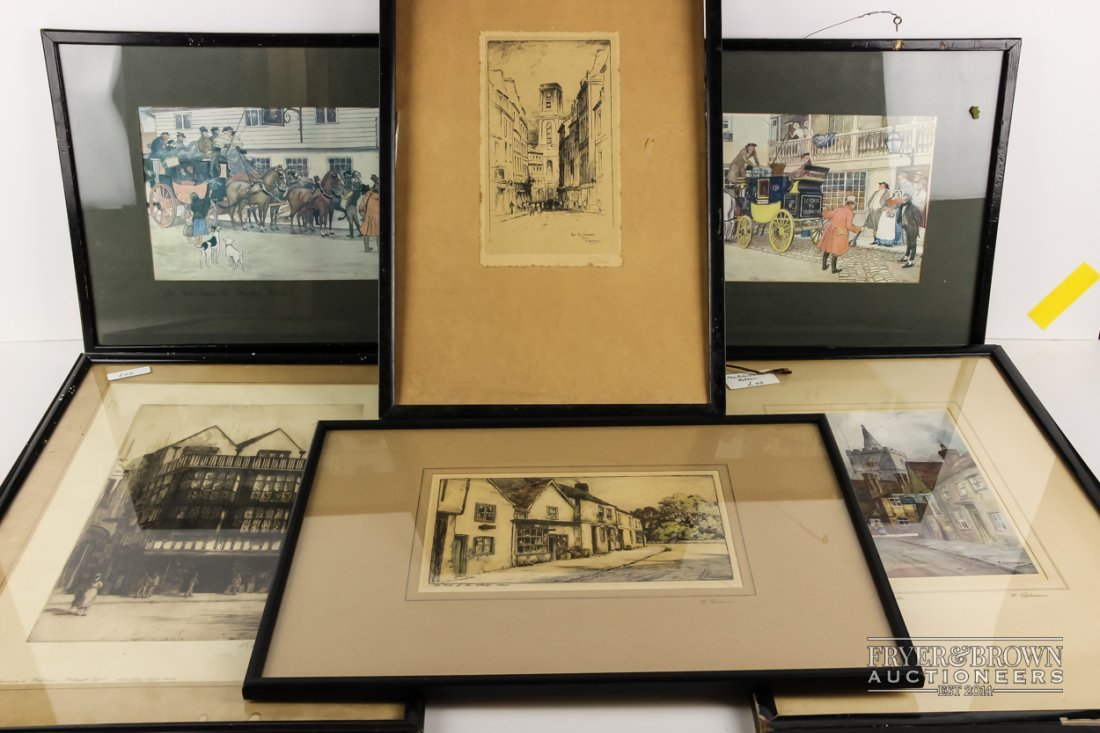 Six prints & engravings, two Victorian/Dickensian