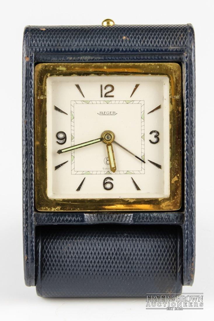 A 1940's Jaeger travelling alarm clock, the rectangular
