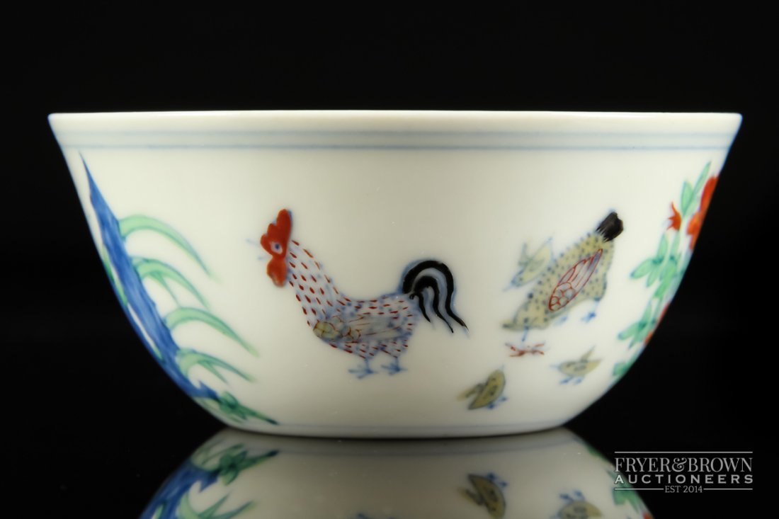 A small fine Chinese Doucai decorated bowl or chicken