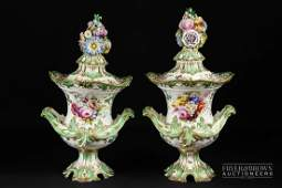A pair of English porcelain probably Minton floral