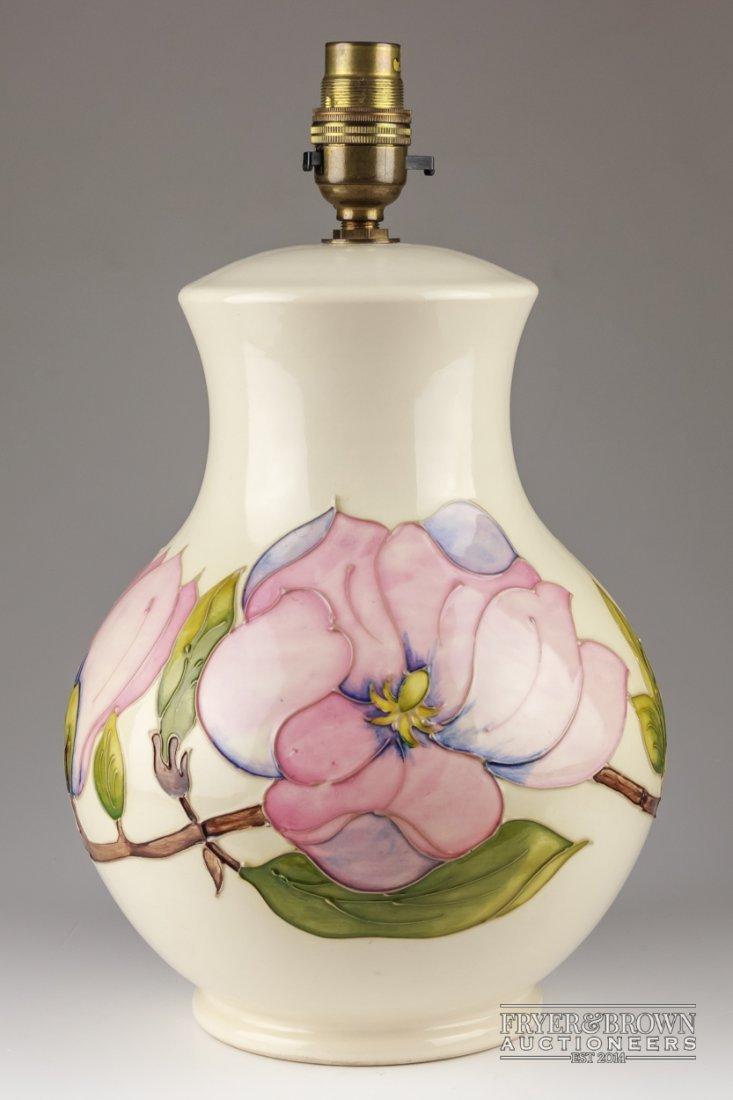 Large moorcroft pottery lamp base in magnolia a large moorcroft pottery lamp base in magnolia reviewsmspy