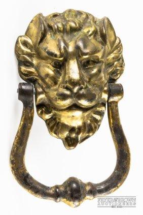 478 Large Gilt Bronze Lion 39 S Head Wall Mount 20th C