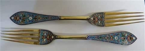 A pair of antique Russian cloisonn enamel and silver