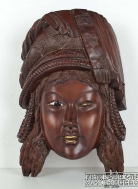 A Chinese Carved Wood Wall Mask, Of A Young Lady With